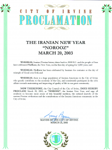 "Recognition of the Iranian New Year ""NoRooz"""