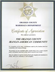 Certificate of appreciation to The Orange county Iranian-American Community Appreciation