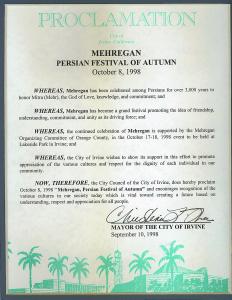 Recognition of Mehregan Persian Festival of Autumn